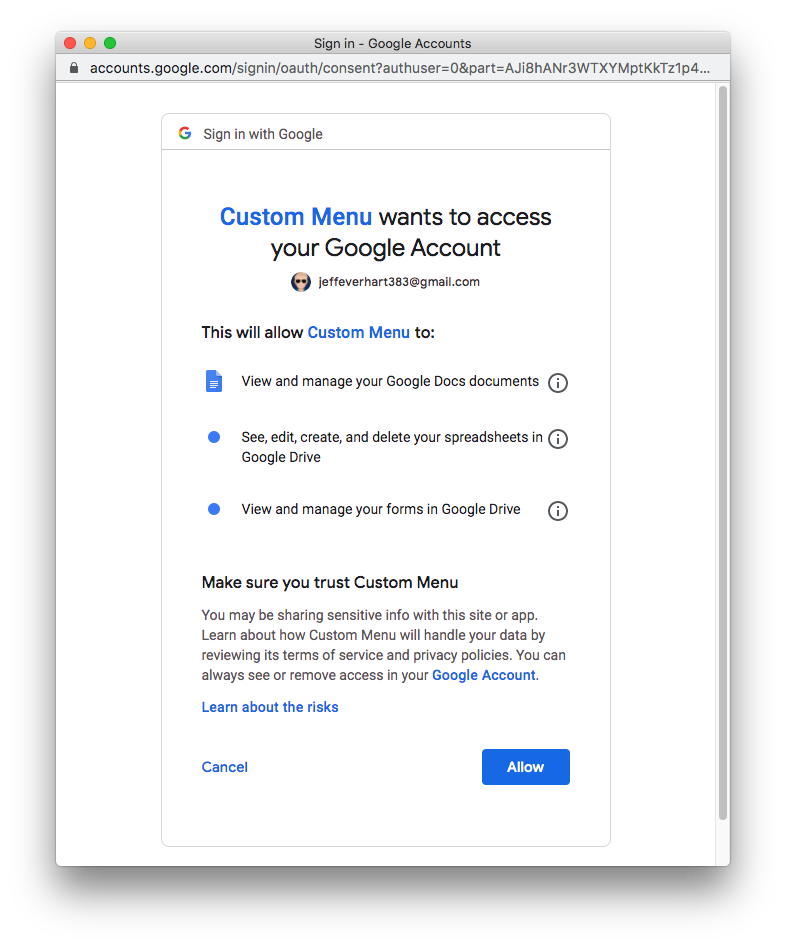 an image of the approval screen for a Google OAuth flow