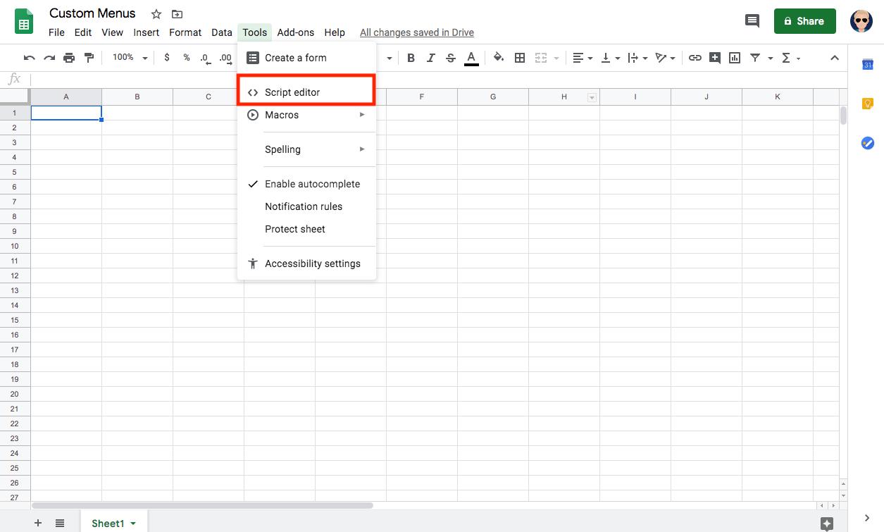 screenshot of script editor menu