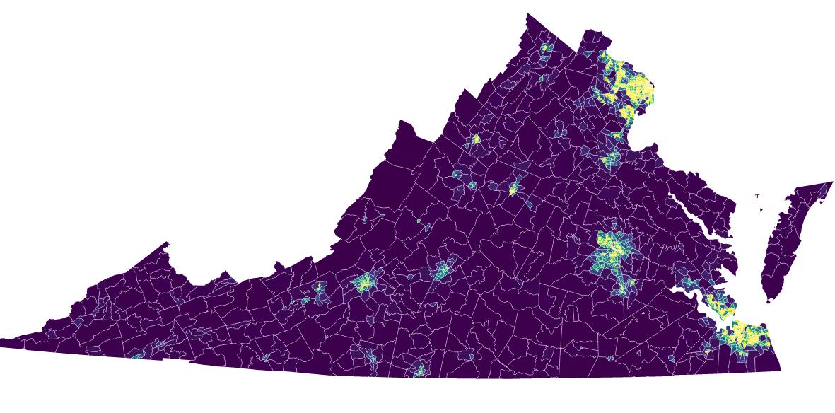 population density in virginia data visualization
