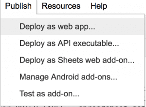 deploy as web app google sheets