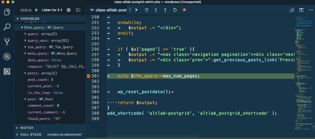 debugging wordpress code in vs code