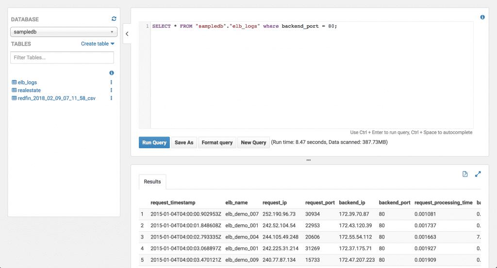 a screenshot of the Amazon Athena query interface