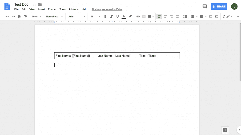 initial google doc template with template tags