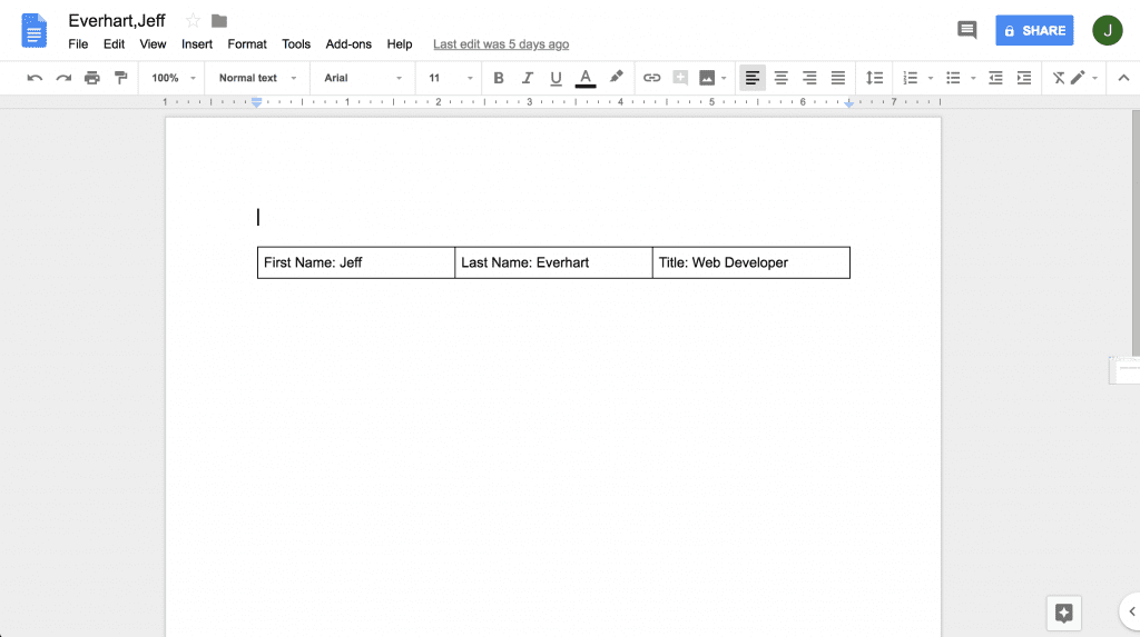 completed google doc after text has been replaced