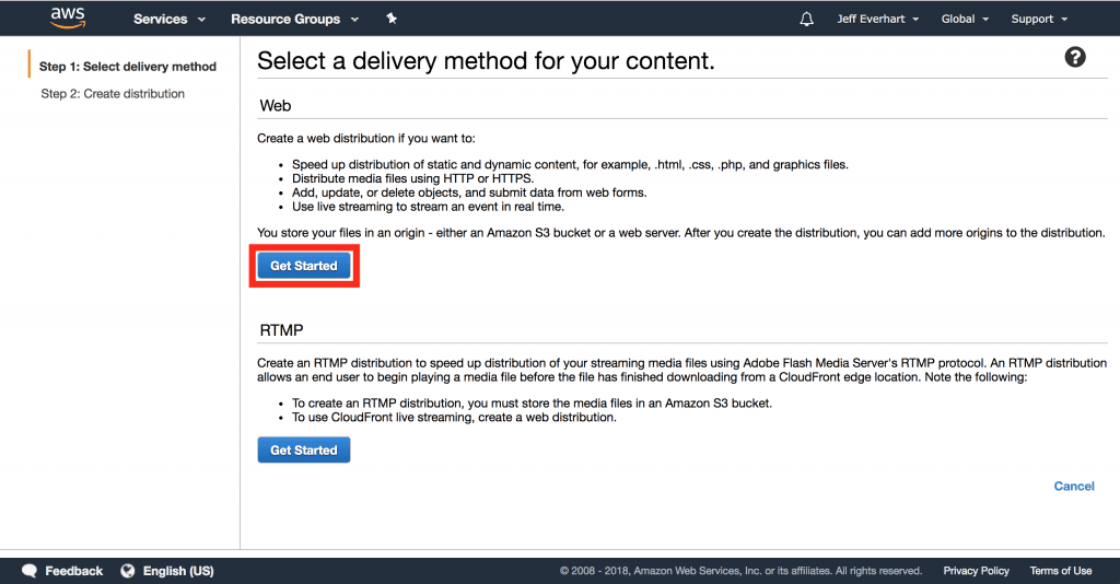 AWS console screen allowing us to choose between  web and rtmp distributions