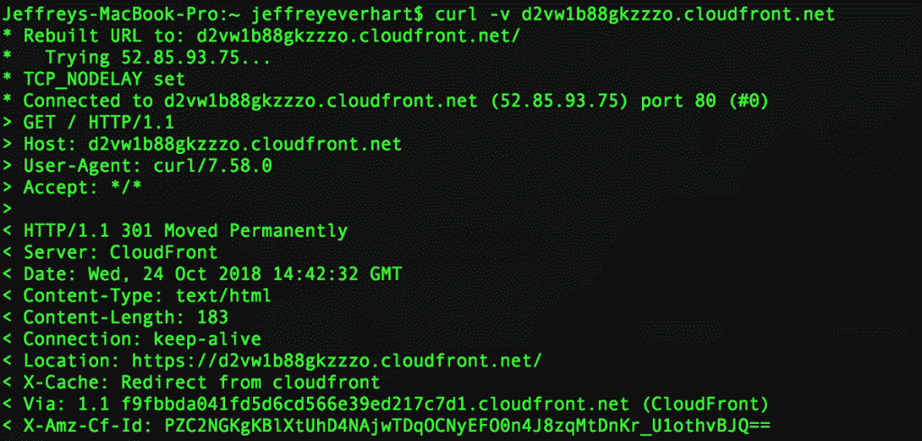 command line program to get cloudfront ip address