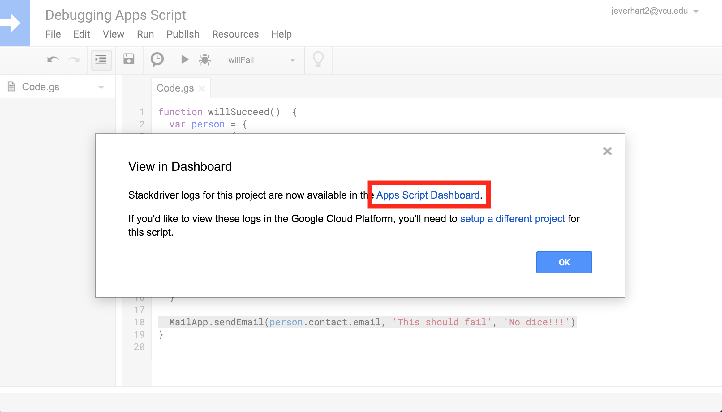 A screenshot of the modal used to open Stackdriver logging in the Google Apps Script dashboard