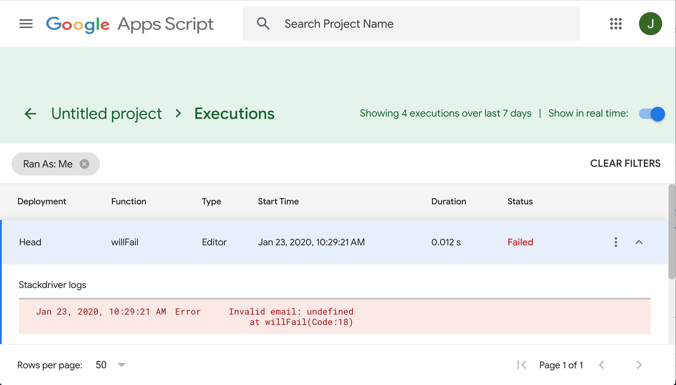 A screenshot of the Stackdriver dashboard with an error message expanded