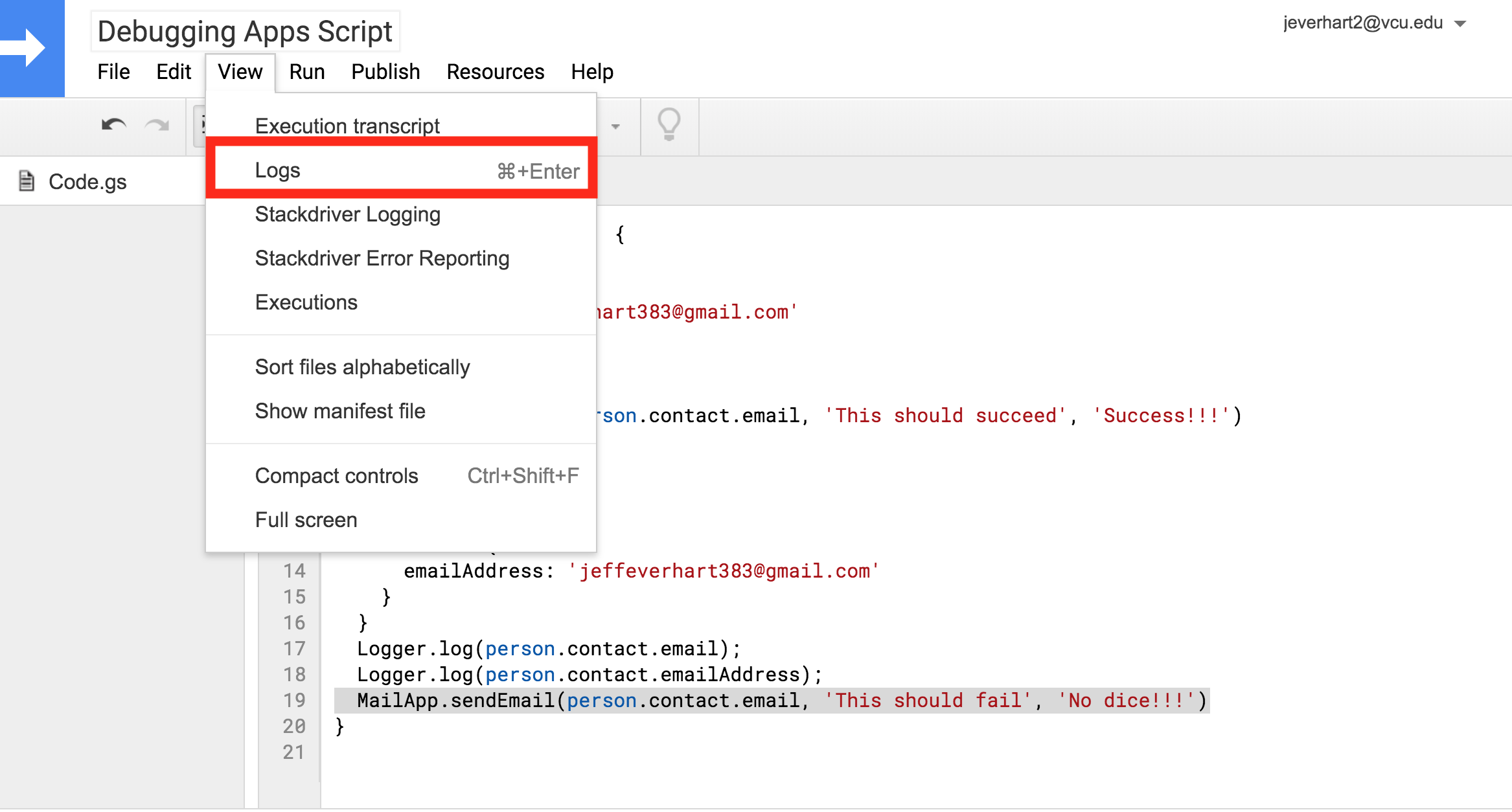 A screenshot of the view menu in the Google Apps Script code editor with the Logs option highlighted