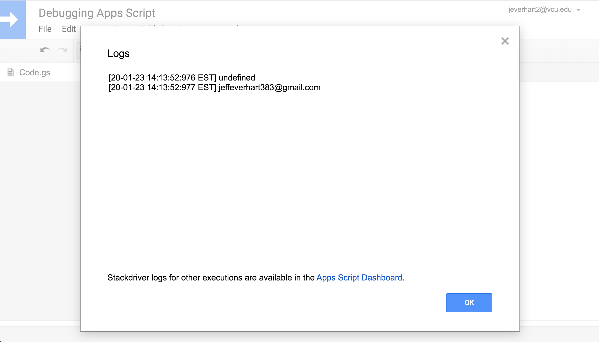 A screenshot showing the logging output modal in Google Apps Script code editor