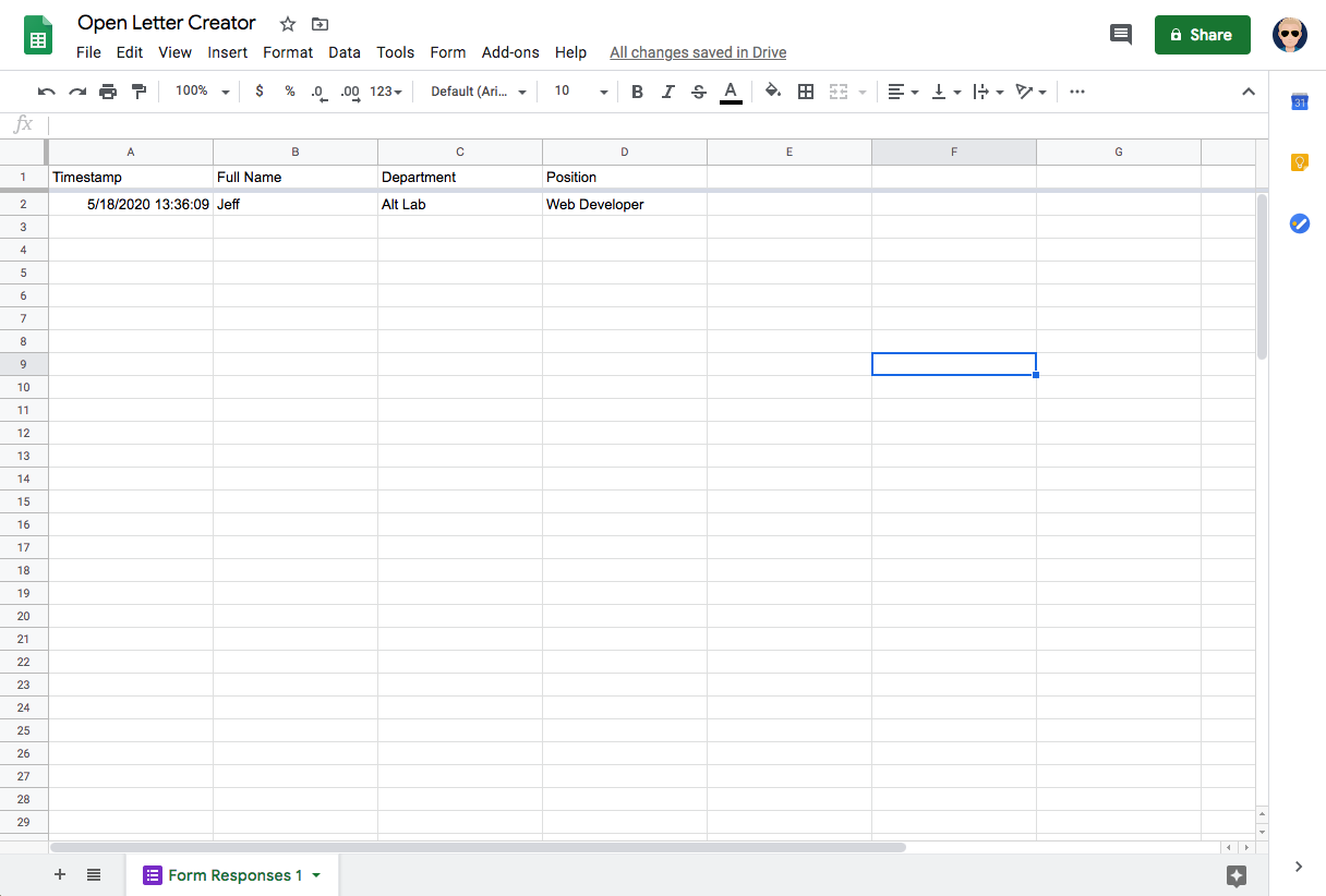 An image of a google spreadsheet used for an open letter generator
