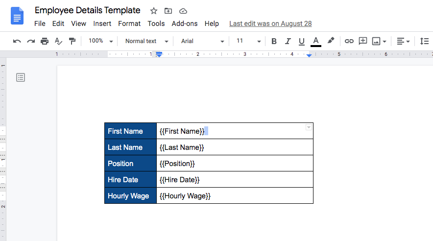 An employee details grid in Google Docs